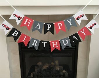 Car Birthday Banner, Car Happy Birthday Banner, Car Party Decorations, Boy Birthday Banner, Red Grey Black, Photo Prop