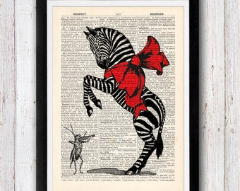 Zebra dancing with cricket violinist vintage dictionary page book art print