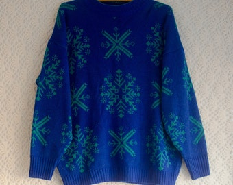 SALE Vintage 1990s blue and green snowflake festive jumper/sweater - Large/XL