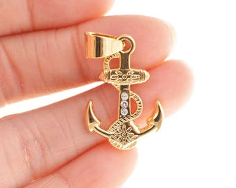 Gold Anchor charm/pedant/necklace/connector/links, 25MM*17MM