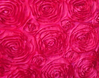 FUCHSIA Rosette Satin Fabric 50 inches wide by the yard