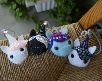 Unicorn Felt Ornament, Horse Felt Ornament, Christmas Ornament