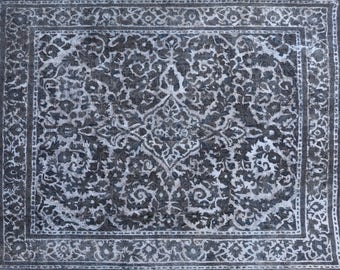 Overdyed Vintage Handknotted Woollen Persian Retro Chic Carpet 360x316cm