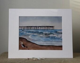 Virginia Beach Watercolor Print, Seagull, Pier, Ocean, Waves, Blue, Home Decor, Beach Art, Nautical wall decor, Watercolor with mat,