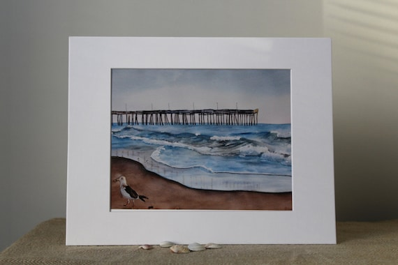 Virginia Beach Watercolor Print Seagull Pier Ocean Waves