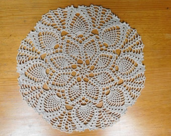 "Round ecru crochet doily (27cm or 10.63""), lace doily, gift, table centrepiece, coffee tablecloth, crochet decoration"