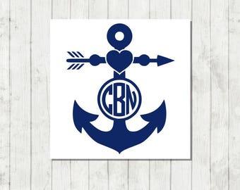 Anchor Monogram Decal - Custom Anchor Monogram - Anchor Decal - Anchor Car Decal - Anchor Yeti Decal - Nautical Monogram Decal - Anchor