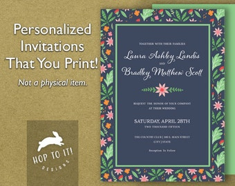 Floral Wedding Invitation Suite 3  (with RSVP, Reception & Thank You Card)- Digital File - You Print