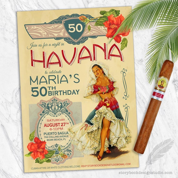 Havana Nights Birthday Party Invitations vintage corporate
