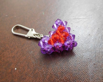 Handmade Beaded Key Ring - Heart
