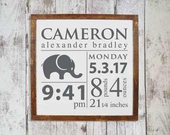 Baby birth stats wall art, Woodland nursery decor, Personalized baby gift, Wooden name signs, Nursery wall art, Baby wall decor, HS314