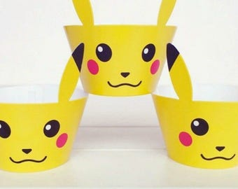 Pokemon Pikachu Cupcake Wrappers | Party Decor Birthday Boy Girl Favours