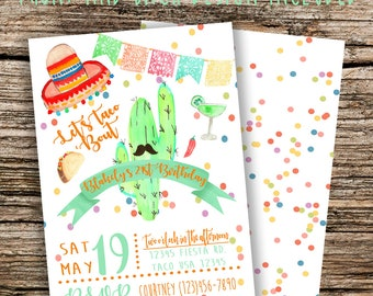 Digital Fiesta Taco Party Birthday Invitation File Front and back designs included