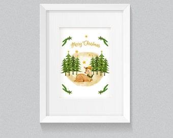 Christmas Poster, Art Print, DEER watercolor painting, Nursery Wall Art, Wall Poster