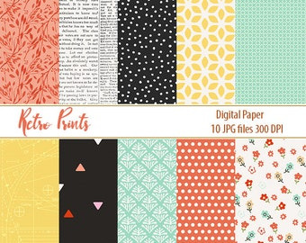 Retro patterns Retro Digital Papers Retro Scrapbook Paper flowers printable