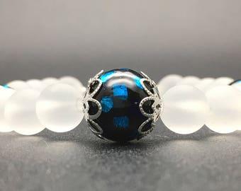 Fireflies in the snow bracelet,Frosted Crystal,glow-in the- dark bracelet,glasswork,