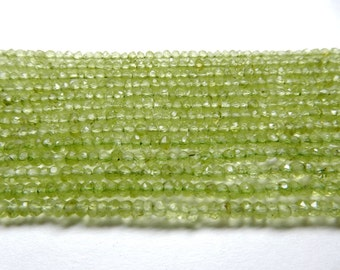 """Natural Peridot Beads Finest Quality 3 MM to 3.5 MM Peridot Round Faceted Beads 13"""" inch long Strand Israel cut beads in Whole sale prize"""