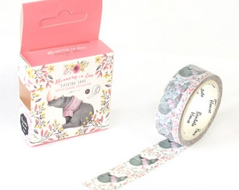 RHINOCEROS Japanese Washi Tape, Masking Tape, Planner Stickers,Crafting Supplies,Scraping Booking,Adhesive Tape,Deco Tape,Floral Washi Tape