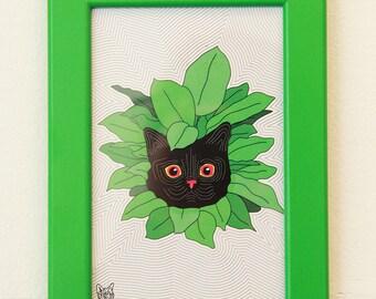 BLACK CAT in PLANT print with greem frame