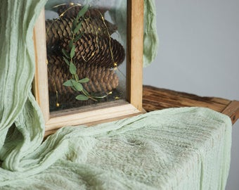 Sage greenery Gauze Wedding Table Runner, Centerpieces Runner, Cheesecloth Table Hand Dyed
