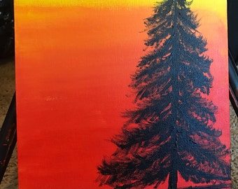 Lonely sunset pine tree