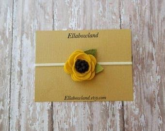 free shipping,felt headband, flower headband, baby headband, sunflower headband, newborn headband , girl headband