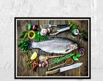 food print, kitchen art, kitchen print, kitchen decor, food art, fish art, fish print, kitchen poster, home decor, food poster, illustration