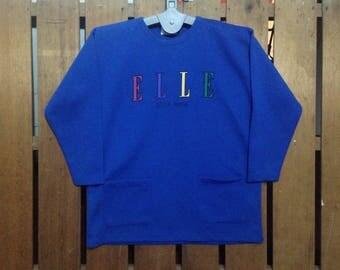 Vintage Elle Jeans with pockets Big Logo Jumper Sweatshirt