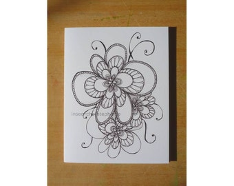 All Occasion Greeting Card - Fancy Ink Flowers