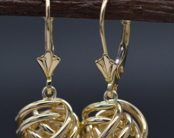 JM34 14K Solid Yellow Gold 24mm Dangle Love knot Leverback Earrings
