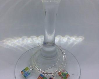 Colorful geometric glass wine glass charms