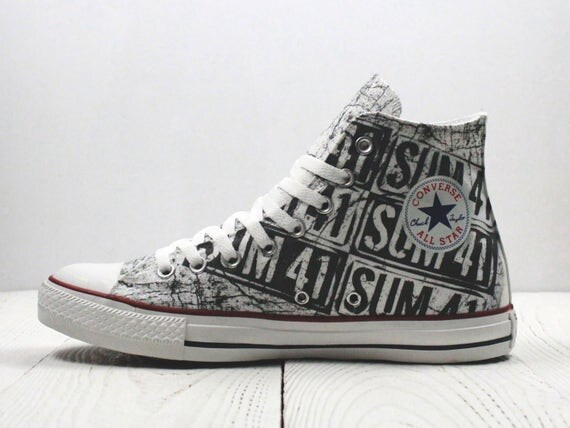b131c44856b3 Sum 41 painted custom converse shoes handmade punk rock style lovely ...