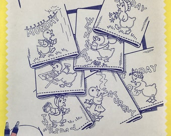 Aunt Martha's Hot Iron Transfers-3400-Dottie The Duck-Vintage Embroidery Patterns