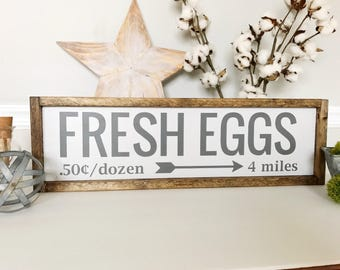 Fresh Eggs Sign, Fresh Eggs, Kitchen Decor, Kitchen Sign, Rustic, Cottage House, Wall Decor, Farmhouse Decor