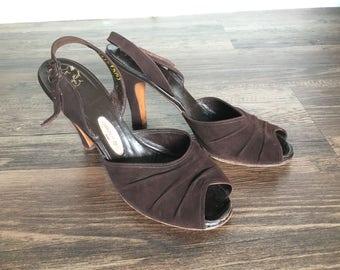 Loretta Heels | 1940s Vintage Brown Suede Peep Toe Slingback Heels by Marquise Originals | Size 7.5/8