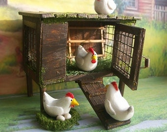 Hen house with hens. Сhicken coop. Handcrafted miniature. For doll House Scale 1:12
