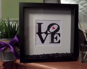 Wedding or Anniversay Frame with vinyl Love Names Date Heart Crystals