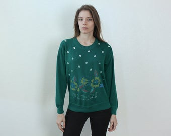 90s Hand Painted Sweatshirt Fleurs // Vintage Pullover Polka Dot Forest Green Mens Womens - Small