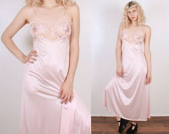 Vintage Pink Slip Dress // 70s Maxi Sheer Lace Nightgown - Small to Medium