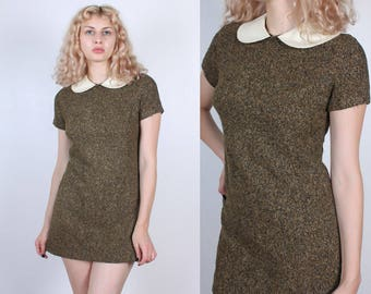 Vintage Peter Pan Collar Dress // 70s Mod Mini Knit Olive Green Shift Dress - Small to Medium