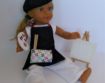 """Made for American Girl 18"""" Dolls. Artist Apron and Beret Hat Set. Includes Easel and Canvas, Brush, Apron and Beret"""