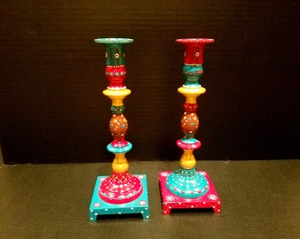 Hand Painted Brass Candle Sticks