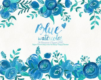 80% OFF! Watercolor Flora 04 Peonies Clipart, Flowers Clipart, Flower Floral, Wreath, Bouquet, PNG, Clip Art, Watercolour, Peony, Blue