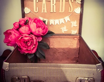 Vintage suitcase wedding card box