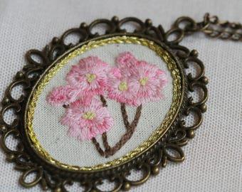 Cherry Blossom Embroidery Necklace Pendant Handmade