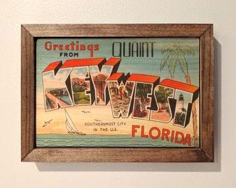 Key West Postcard Wooden Sign