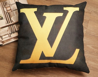 Louis Vuitton Inspired Pillow Cover Decorative Pillow Black White Pillow Beige Pillow Fashion Pillow Home Decor Couture LV