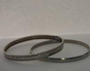 Sterling Silver Bangle Bracelets- Set of 2