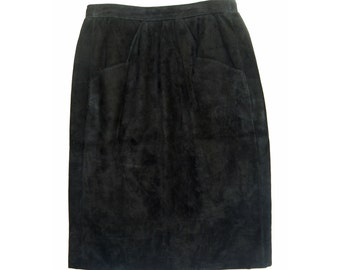 Vintage women skirt genuine leather suede