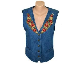 Vintage Tabi ® International women vest blue denim with embroidery flowers floral